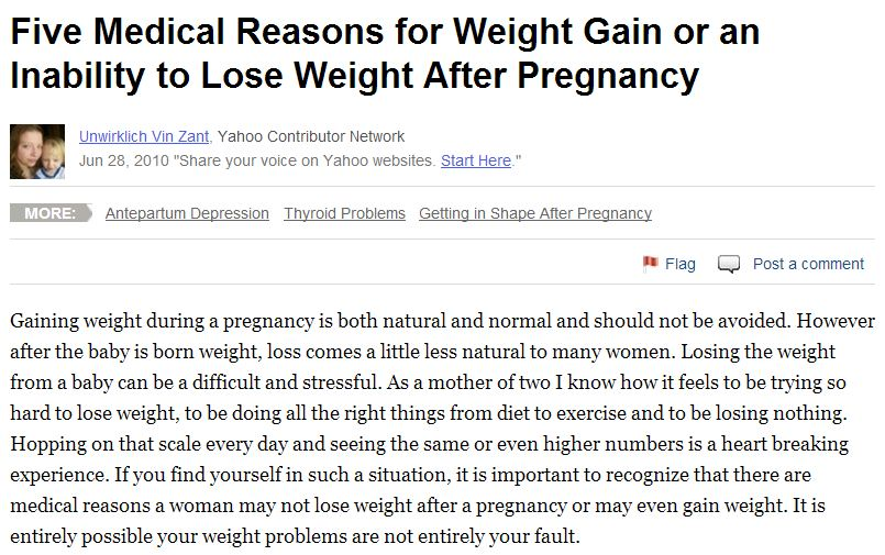 five medical reasons for weight gain or an inability to lose weight after pregnancy